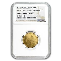 1995 Mongolia Gold 1000 Tugrik Moscow-Beijing Railroad PF-69 NGC