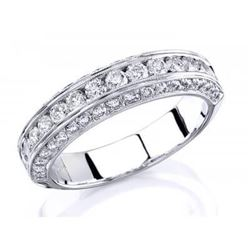 Natural 1.22 CTW Designer Round Cut Channel Set & Pave Diamond Wedding Band 14KT White Gold