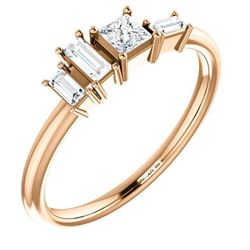 Natural 0.27 CTW Geometric Diamond Ring 18KT Rose Gold