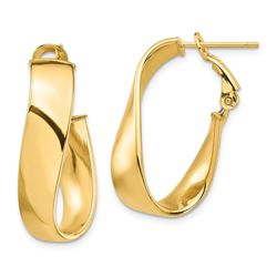 14k Yellow Gold Twisted Omega Back Oval Hoop Earrings