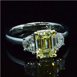 Natural 2.72 CTW Emerald Canary Light Yellow 3-Stone Diamond Ring 18KT Two-tone
