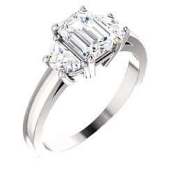 Natural 2.62 CTW Emerald Cut & Half Moons 3-Stone Diamond Ring 18KT White Gold
