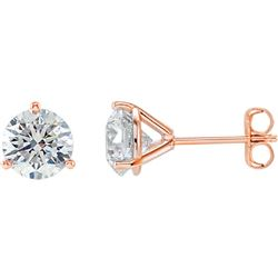 Natural 1.42 CTW Round Cut Martini Diamond Stud Earrings 14KT Rose Gold