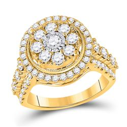 14kt Yellow Gold Womens Round Diamond Cluster Ring 1-3/4 Cttw