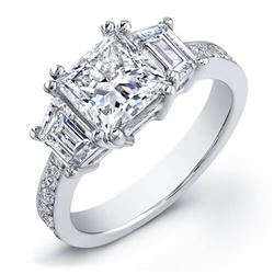 Natural 2.91 CTW Princess Cut Diamond Engagement Ring 18KT White Gold