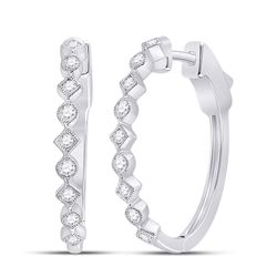 14kt White Gold Womens Round Diamond Milgrain Square Dot Hoop Earrings 1/2 Cttw