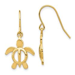 14k Polished Turtle Dangle Earrings - 35 mm