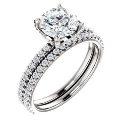 Natural 2.12 CTW Round Cut Hidden Halo Diamond Engagement Ring 18KT White Gold