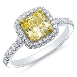 Natural 2.12 CTW Canary Yellow Cushion Cut Halo Diamond Ring 18KT White Gold