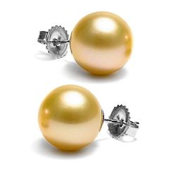 Golden South Sea Pearl Stud Earrings, 12.0-13.0mm