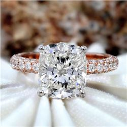 Natural 4.32 CTW Cushion Cut Micro Pave Diamond Engagement Ring 14KT Rose Gold