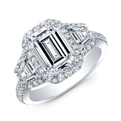 Natural 5.02 CTW Halo Emerald Cut & Trapezoids Diamond Engagement Ring 14KT White Gold