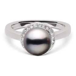 Black Tahitian Pearl and Diamond Halo Ring, 8.0-9.0mm