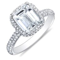 Natural 3.02 CTW Emerald Cut Halo Diamond Engagement Ring 18KT White Gold