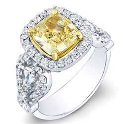 Natural 3.52 CTW Canary Intense Yellow Cushion Cut Diamond Ring 14KT Two-tone