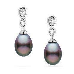 Tahitian Drop-Shape Pearl and Diamond Infinity Dangle Earrings