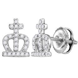 14kt White Gold Womens Round Diamond Crown Cross Stud Earrings 1/6 Cttw