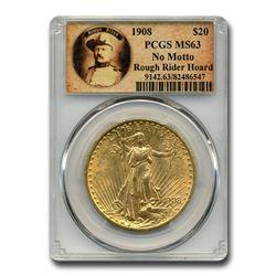 1908 $20 Saint-Gaudens Gold No Motto MS-63 PCGS (Rough Rider)