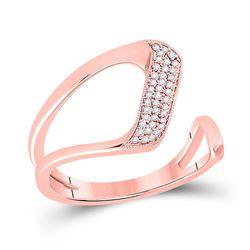 14kt Rose Gold Womens Round Diamond Geometric Fashion Ring 1/6 Cttw