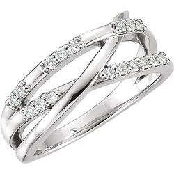 Natural 0.19 CTW Diamond Criss Cross Ring 14KT White Gold