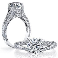 Natural 2.62 CTW Round Cut Split Shank Pave Diamond Ring 14KT White Gold