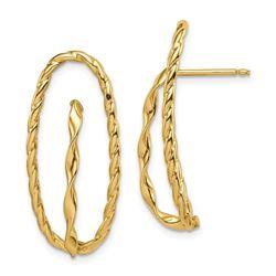 14k Yellow Gold Twisted Fancy Post Earrings - 31 mm