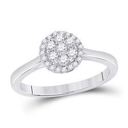 14kt White Gold Womens Round Diamond Flower Cluster Ring 1/3 Cttw