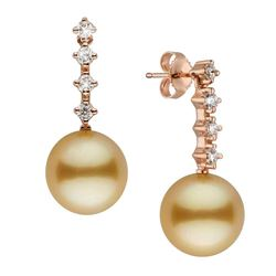 Golden South Sea Pearl and Diamond Constellation Earrings