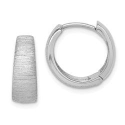 14k White Gold Textured Hoop Earrings - 37 mm