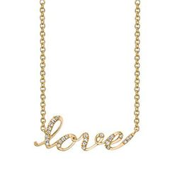 Natural 0.32 CTW LOVE Diamond Necklace 14KT Yellow Gold