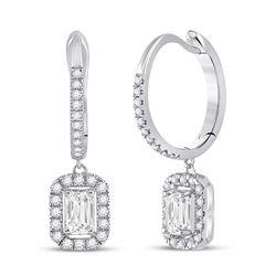 14kt White Gold Womens Emerald Diamond Hoop Dangle Earrings 1 Cttw