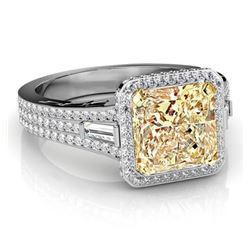 Natural 3.32 CTW Canary Light Yellow Radiant Cut & Baguettes Diamond Engagement Ring 14KT Two-tone