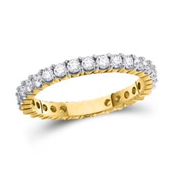 14kt Yellow Gold Womens Round Pave-set Diamond Eternity Wedding Band 1/2 Cttw