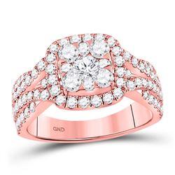14kt Rose Gold Round Diamond Cluster Bridal Wedding Engagement Ring 2 Cttw