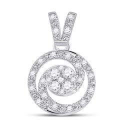 14kt White Gold Womens Round Diamond Circle Swirl Cluster Pendant 1/5 Cttw