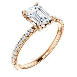 Natural 1.22 CTW Diamond Basket Emerald Cut Diamond Ring 18KT Rose Gold