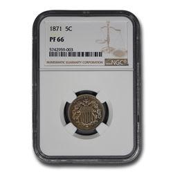 1871 Shield Nickel PF-66 NGC