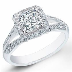 Natural 1.82 CTW Halo Princess Cut Split Shank Diamond Ring 18KT White Gold