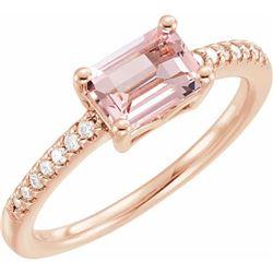 Natural 0.62 CTW Emerald Cut Morganite & Diamond Ring 18KT Rose Gold