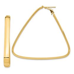 14k Yellow Gold Triangle Hoop Earrings - 47 mm