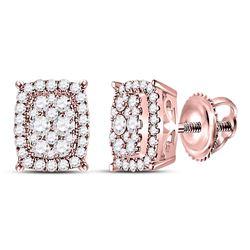 14kt Rose Gold Womens Round Diamond Rectangular Cluster Earrings 1/2 Cttw