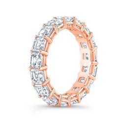 Natural 6.02 CTW Asscher Cut Diamond Eternity Ring 18KT Rose Gold