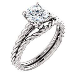 Natural 2.12 CTW Round Cut Rope Design Diamond Engagement Set 18KT White Gold