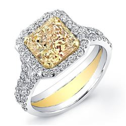 Natural 2.12 CTW Canary Yellow Square Radiant Diamond Ring 18KT White Gold