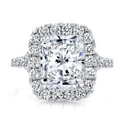 Natural 2.37 CTW Radiant Cut Halo Split Shank Diamond Ring 18KT White Gold