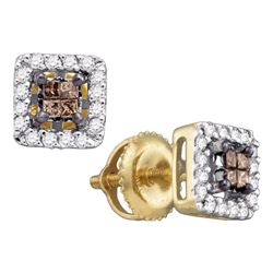14kt Yellow Gold Womens Princess Brown Diamond Square Earrings 1/3 Cttw
