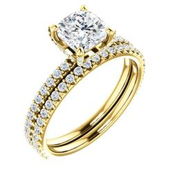 Natural 2.02 CTW Under-Halo Cushion Cut Diamond Ring 14KT Yellow Gold