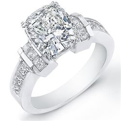 Natural 1.94 CTW Cushion Cut Diamond Engagement Ring 14KT White Gold