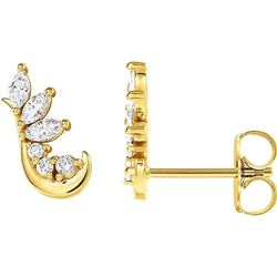 Natural 0.27 CTW Valley Marquise & Round Diamond Earrings 18KT Yellow Gold