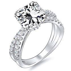Natural 3.62 CTW Radiant Cut Cross Over Split Shank Diamond Engagement Ring 14KT White Gold